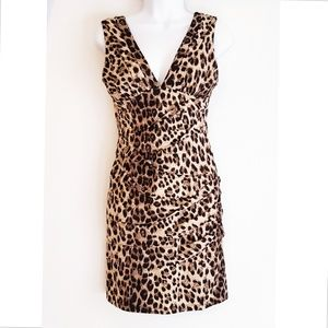 F21 leopard print bodycon dress V-neck medium